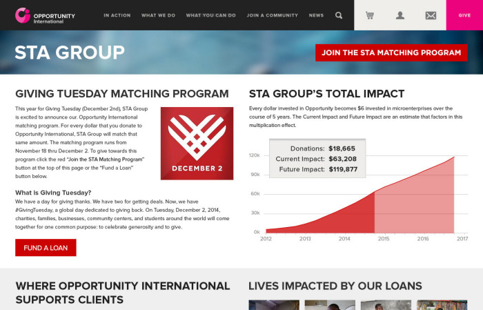 STA Group landing page on the OI website